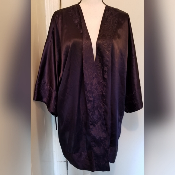 Victoria's Secret Other - Victoria's Secret Vintage Dark Blue Robe Silk